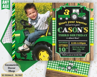 Tractor Birthday Invite, Tractor Invitation, Tractor Birthday Invitations, Yellow, Woodland Green Plaid Boy Girl Photo Photograph Farm BDT20