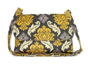 Small Damask Print Purse in Gray and Yellow, Crossbody Bag for Women, Cross Body Pocketbook, Shoulder Bag, Messenger Bag, Cotton Handbag