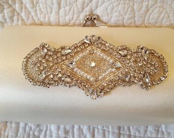 Ivory Rhinestone Bridal Clutch - Art Deco Glam Wedding - Gatsby Style Bridal Purse - 1920s Style Bridal Purse - Art Deco Bridal Clutch