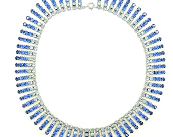 Vintage 1950's Blue diamanté Rhinestone necklace ~ Mic Century Fringe choker Bridal jewellery~ Mothers day Birthday gift for her