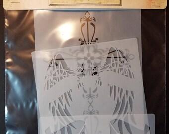 Cross Wings Banner Stencils 3 pc set