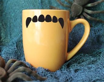 Vampire Fang Mug - Fang Mug - Halloween Mug - Autumn Mug - Spooky Mug - Vinyl Mug