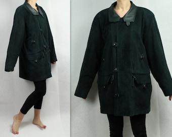 Dark Green Leather Parka Coat Vintage 80s 90s Soft Leather Jacket Green Leather Jacket Mens Real Leather Coat Oversize Pad Shoulder