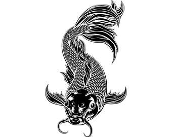 Koi fish SVG, Koi SVG, Koi fish clipart, Japanese koi svg, Koi carp svg,Silhouette,SVG,Graphics,Illustration,Vector,Logo,Digital