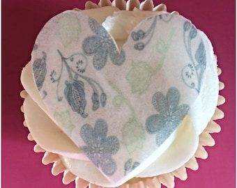 Heart Cupcake Toppers, Patterned Heart Edible Toppers, Wafer Paper, Icing Paper, Set of 12 or 24