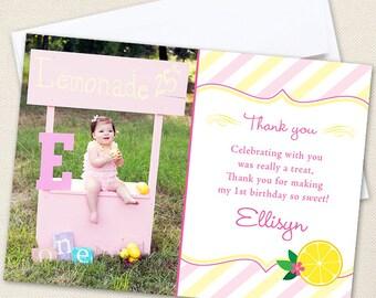 Pink Lemonade Photo Thank You Cards - Professionally printed *or* DIY printable