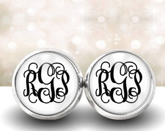 White Monogram Jewelry Earrings, Monogram Studs, Silver Earrings, Initial Jewelry, Gift for Her, 374