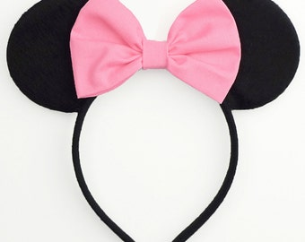Minnie Mouse Ears Mickey Mouse Headband Pink Mickey Ears Headband Mouse Ears Pink Minnie Mouse Bow Pink Pink Minnie Ears Minnie Mouse Outfit