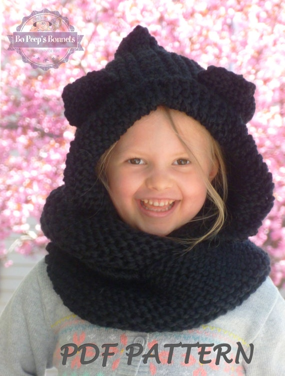 KNITTING PATTERN Hooded Cat Ears Cowl Scarf Cat Scarf