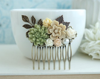Fall Shabby Wedding Comb. Nature, Brown, Green Rustic, Ivory Rose, Leaf Flower Hair Comb. Bridesmaids Gift. Green and Brown Country Wedding