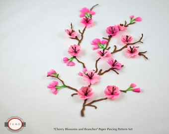 Versatile 3D Cherry Blossoms and Branches Sakura SVG Digital Die Cut Paper Piecing Pattern for Card Making, Scrapbooking, and Invitations