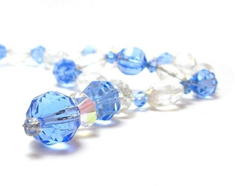 Glass Bead Necklace Vintage Mid Century 1940s Clear Faceted Azure Blue