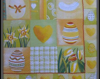 patchwork square theme Easter napkin