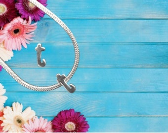 Lowercase 't' Sterling Silver Charm Necklace With Gift Box
