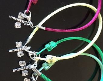 Zipper Bracelet - Dragonfly Charm