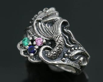 Mermaid Tail Colorful CZ Oxidized Sterling Silver Ring LR-105