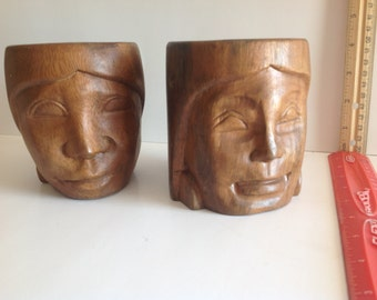 Vintage Phillipino Monkey Pod Wood carved cups with male-female faces