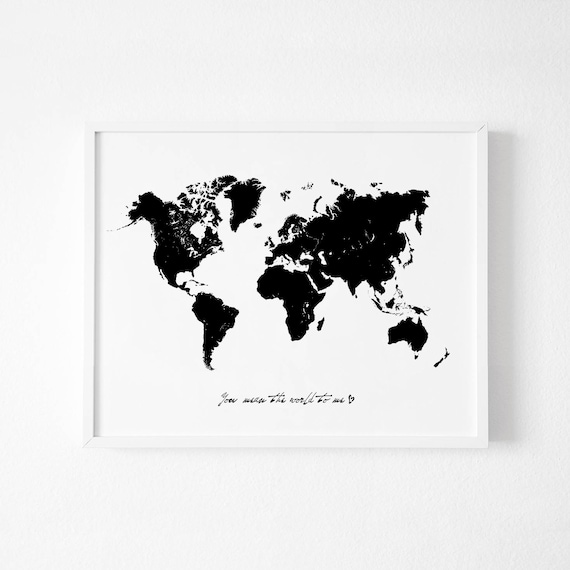 Large black world map wall art printable world map world map gumiabroncs Images