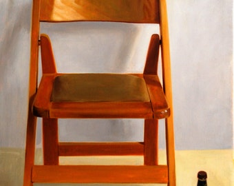 Oil on Canvas Original Art Painting Unique Artwork Signed by Daniel Sergio Wooden Chair