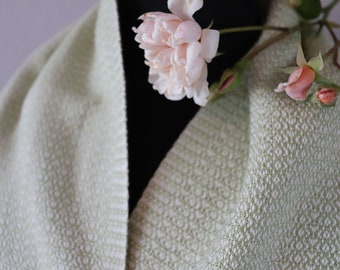 Spring Green Handwoven Scarf   Cotton Scarf   Heart Weave Scarf   Gift for Her   Gift for Mom