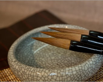 Free Shipping Chinese Calligraphy Material  Pure Weasel Hair Brush Set / BLHTB (Large,Medium,Small) - Sandalwood - 0043LMS