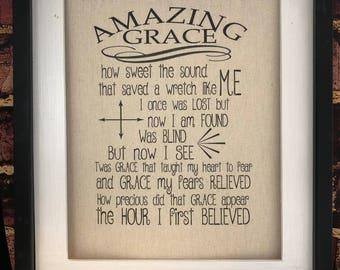 Amazing Grace Blessing Wall Print Canvas Print Rustic Wall Decor Wall Hangings Gift Housewarming Gift Wedding Gift Gospel Music Print