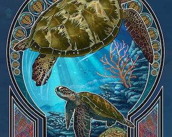 Sea Turtle - Art Nouveau (Art Prints available in multiple sizes)