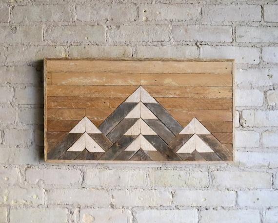 Reclaimed Wood Wall Art   Wood Decor    Reclaimed Wood   Wood Art   Rustic Geometric  Wood Decor   Handmade   Mountain   Gradient   Natural