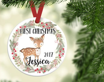 Christmas Ornament for Girl| Baby's First Christmas ornament| Deer Ornament| Personalized Children's Ornament| Baby's 1st Christmas| CO24