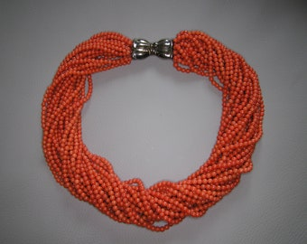 Vintage Coral Torsade Necklace with Sterilng Silver Bow Clasp - 232g!!!!!