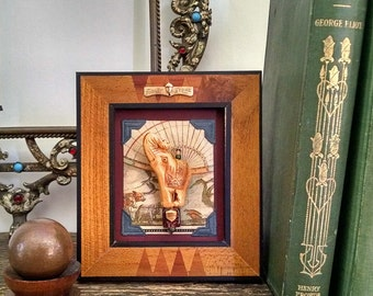 Elephant Mixed Media Assemblage Miniature Art Diorama Table Decor
