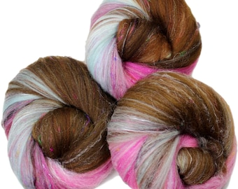 Chocoholic -- classic batts -- (4 oz.) organic polwarth, silk, bamboo, sari silk, sparkle.
