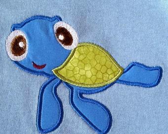 Boy's Sea Turtle applique Light Blue  T Shirt  Size 2T