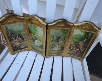 Vintage Italian Florentine Italy Victorian Gold Wooden Divider Panel Display