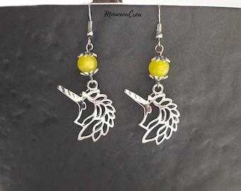 Yellow Unicorn earrings,