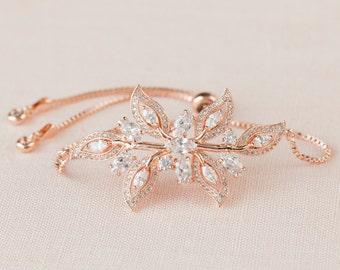 Rose gold Bracelet, Bridal Bracelet, Crystal Wedding Bracelet, Bridesmaid Jewelry, Swarovski Wedding Jewellery, Linneah Bracelet