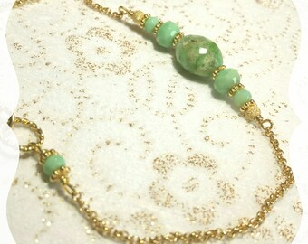 "Bracelet ""Green Hope"" in Chrysoprase in Gold filled 14 carats"