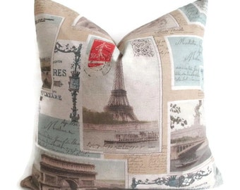 Pillow Cover Paris Fabric France Photos Tourist Souvenir Eiffel Tower Both Sides Sepia Zipper