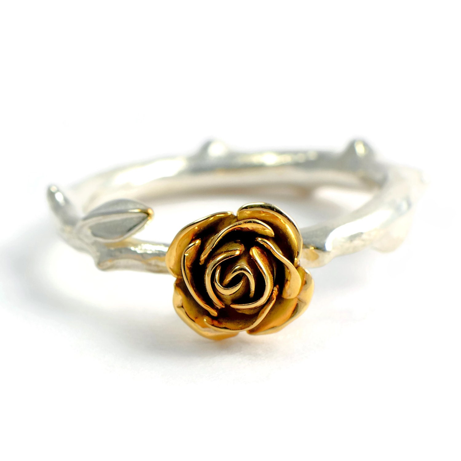 9ct Eco Gold Rose Ring Flower Engagement Ring Silver Rose