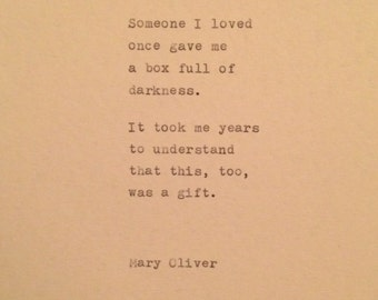 Mary Oliver Quote typed on typewriter