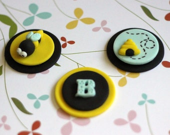 Our EXCLUSIVE Design Bumblebee Bee Fondant Toppers - Perfect for Cupcakes, Cookies and Other Edibles