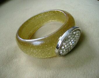 Gold Bracelet//Rhinestones // Disco // Studio54 // Handmade // Big Bold // Bangle Bracelet // Gift for Her // gift