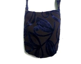 Bag Purse Dark Blue Velvet with Dark Brown Background