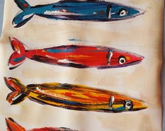Sardines color pop art