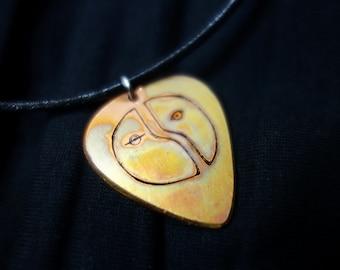 Origin Of Love Engraved Copper Guitar Pick Necklace