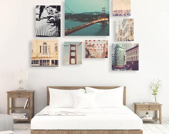 San Francisco print set, wall cluster set, photography, California home decor, Golden Gate bridge, travel photos, discount set, Myan Soffia