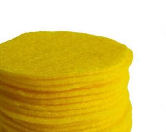 "30 pcs, Yellow Felt Circles 1"" to 8"""