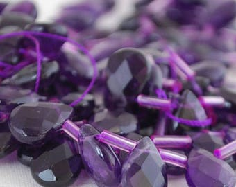 Amethyst 12x8mm faceted Briolette