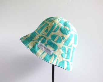Baby boy summer hat, abc letter alphabet print toddler boy sun hat, gift for boy baby first Birthday, gift for toddler boy - made to order