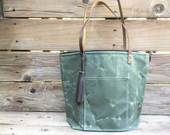 Waxed Canvas Purse - Drab Olive - Day Tote - Waxed Canvas Bag - Canvas Purse with Leather Straps - Waxed Canvas Tote